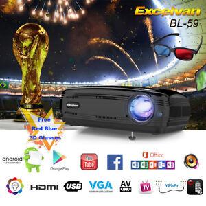 WiFi 4K 3D Full HD 1080P LED Projector Home Theater Bluetooth AV/TV/USB/HDMI 8GB