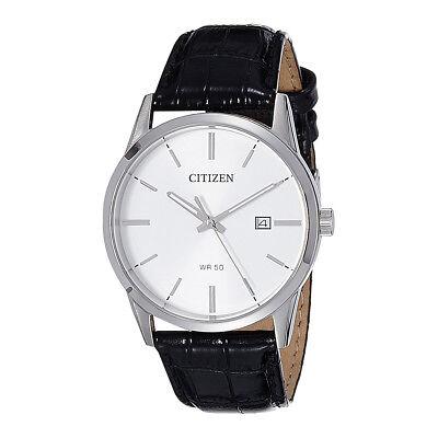 CITIZEN BI5000-01A Analog Quartz White Dial Black Leather Date 50m Men's Watch