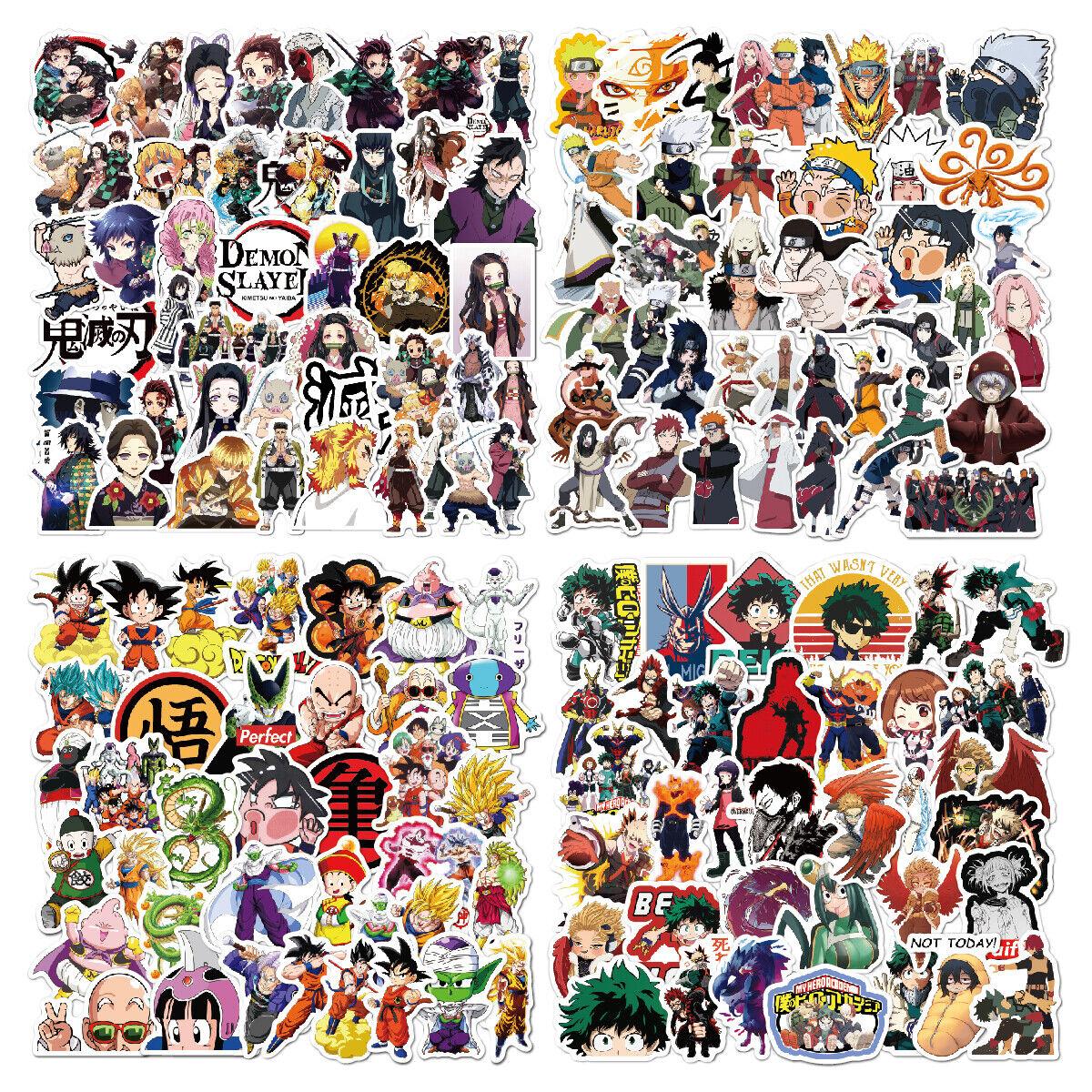 220 pcs anime stickers naruto dragon demon slayer my hero academia laptop car