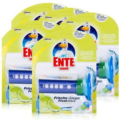 5x WC Ente Frische Siegel Starter Set Limone, 6 Gel Siegel