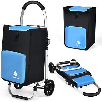 Costway Folding Utility Dolly Shopping Grocery Cart W Removable Bag