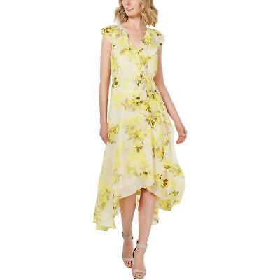 Calvin Klein Womens Floral Print Ruffled Maxi Wrap Dress BHFO 2882