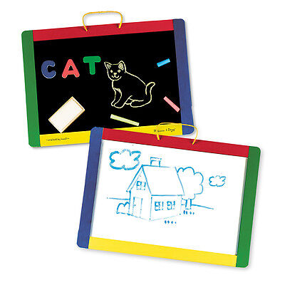 Melissa & Doug MAGNETIC CHALK & DRY-ERASE BOARD With Numbers/Letters Toddler BN