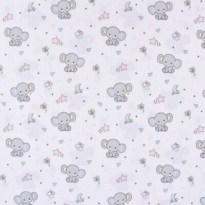 Baumwollstoff SWEET ELEPHANT Baby Elefant Sterne Mond weiß grau rosa 1,40m - Baby Rosa Elefant Kostüm