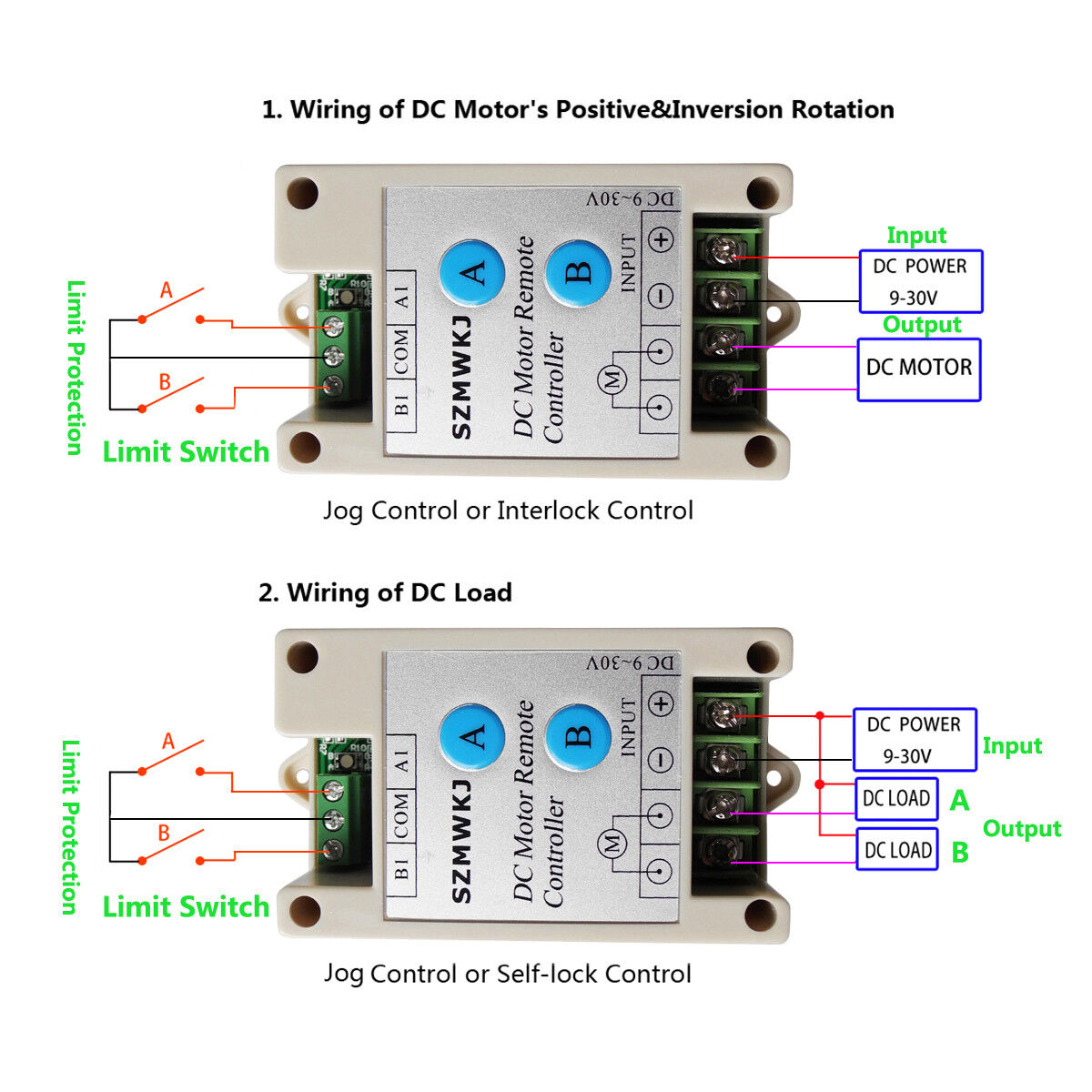 12V//24V Linear Actuator Controlller Wireless Positive Inversion Kit for DC Motor