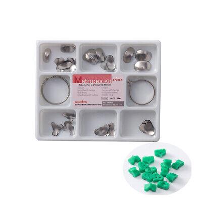 100pcs Dental Sectional Contoured Metal Matrices Matrix Kit 2ring Easyinsmile