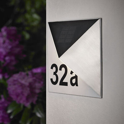 Solar Hausnummer mit LED Beleuchtung Hausnummernleuchte Solar Edelstahl SH07