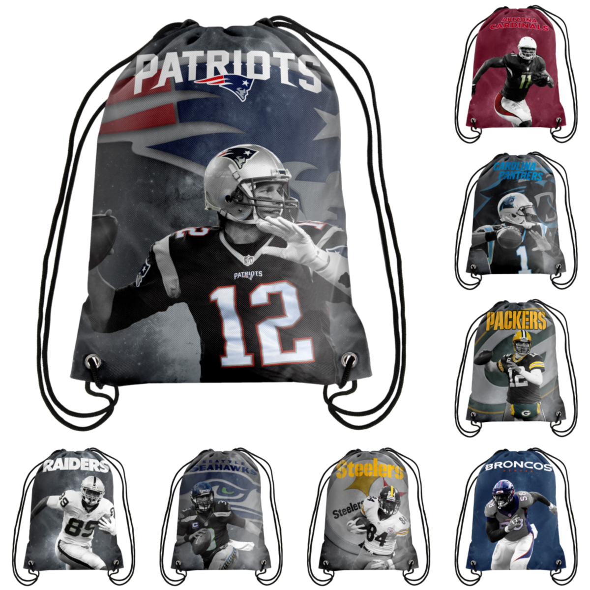 NFL Football Player Printed Drawstring Backpack - Pick Player