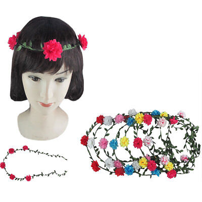 12pcs Boho Halo Flower Bridal Headband Hairband Crown Garland Wedding Prom Party (Flower Halo Headband)