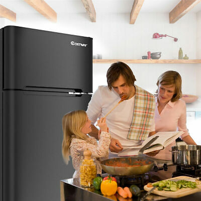 Costway Stainless Steel Refrigerator mini Freezer Cooler Com