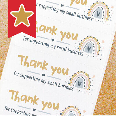 Thank You Labels Stickers For Online Shop Sellers 100ct - Pastel Rainbow 02