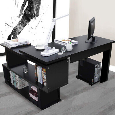 Black Corner Computer Desk L-Shaped Study Gaming Table With Shelves Home Office