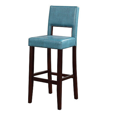 Blue Bar Stool Padded Seat Back Foot Rest Black Finish Kitchen Counter Pub Chair