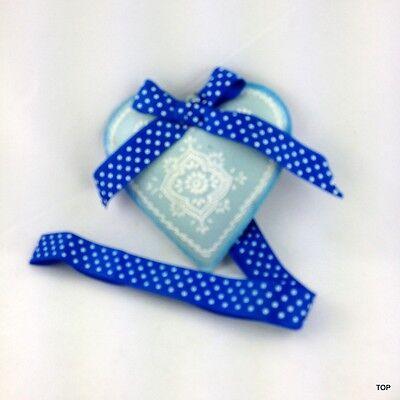 Corazón Chapa Azul con Decoración Lazo Y Banda para Colgar