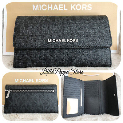 NWT MICHAEL KORS JET SET TRAVEL SIGNATURE PVC LARGE TRIFOLD WALLET IN BLACK