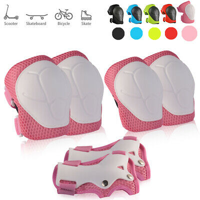 6x Kids Skating Protective Gear Set Bike Skateboard Elbow Knee Pads Pink US