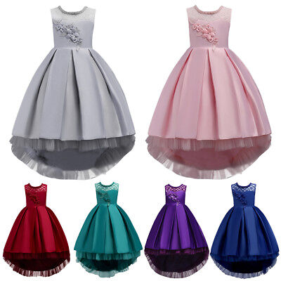 Flower Girl Dress High Low Trailing Wedding Bridesmaid Dresses For Party - High Low Dresses Kids