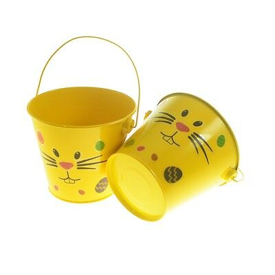 Pack of Two Metal Easter Bunny Design Egg Hunt Buckets with Sticker Pack XNX013  - Metal Easter Buckets
