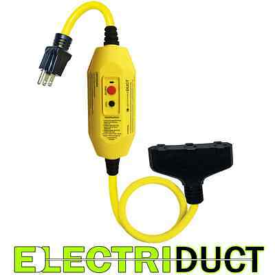 GFCI Inline 15 Amp with 2 FT Triple Tap Cord - Electriduct