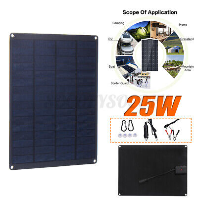 25W 12V 9'' Solar Panel USB Port Battery Charger Motorhome Boat Travel Camping