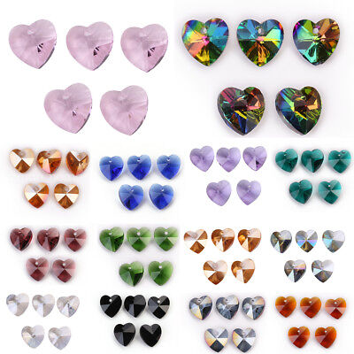 Heart Beads (10pcs 14mm Charms Heart Faceted Crystal Glass Loose Spacer Beads Jewelry)