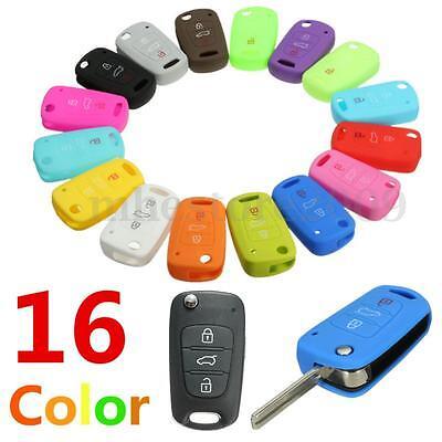 Silicone 3 Button Remote Flip Key Case Fob Cover For Kia Sportage Soul Rio cee'd
