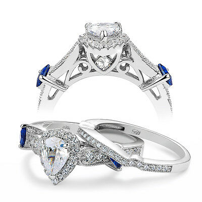 1.9 Pear Blue Sapphire White Cz 925 Sterling Silver Wedding Ring Set Size 9