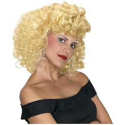 50s Style Wig Curly Blonde Adult Bad Sandy Grease Halloween Costume - 1950's Style Halloween Costumes