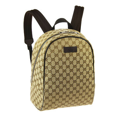 GUCCI GG Pattern Backpack Shoulder Bag Brown Canvas Leather Auth AK44299