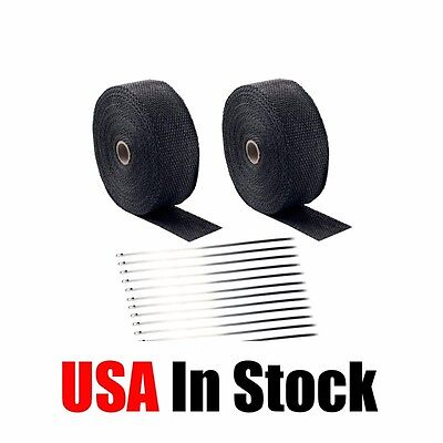 "2 Roll x 2"" 50Ft Black Fiberglass Exhaust Header Pipe Heat Wrap Tape+20 Ties Kit"