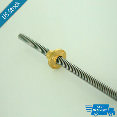 T8 8mm Lead Screw Pitch 2mmlead 8mmlenth 600mm Brass Nut For Cnc 3d Printer