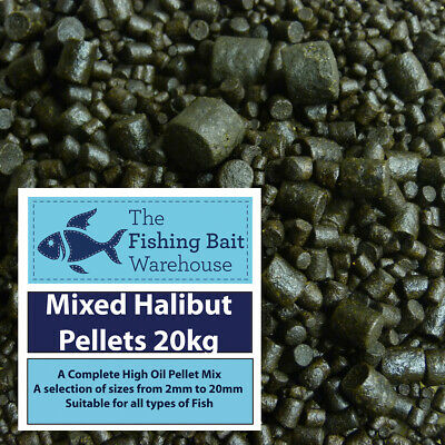 Mixed Halibut Pellets 20kg - Carp Fishing - Catfish - Marine Halibut 2mm to 20mm
