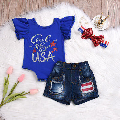 My First 4Th Of July 2018 Baby Girl Outfits Romper Short Jeans Clothes Us Stock