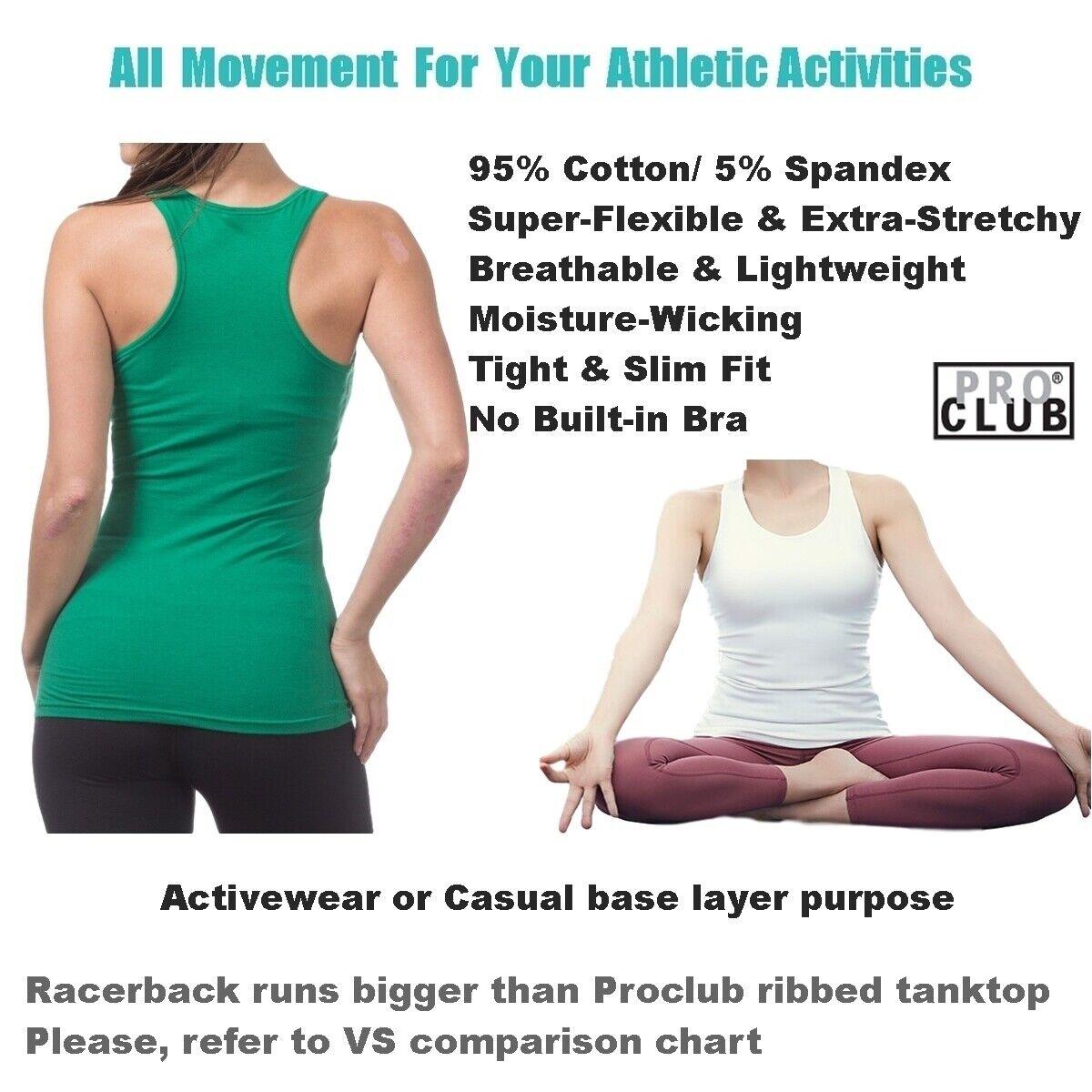 как выглядит WOMENS Racerback Tank Tops Sleeveless PROCLUB Workout Gym Yoga Solid Undershirt фото
