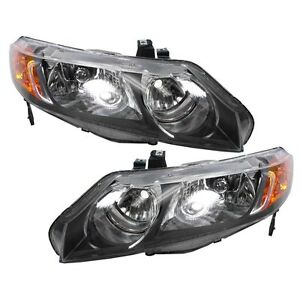 Headlights Headlamps Left & Right Pair Set for 06-08 Honda Civic 4 Door Sedan