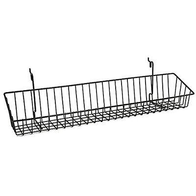 Wire Shelf Basket Slatwall Gridwall Pegboard Retail Display Lot Of 10 Black New
