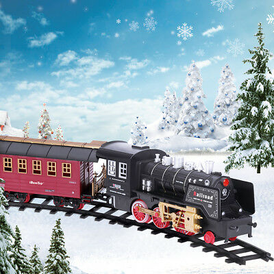 Classic Smoking Electric Track Train Set Locomotive Vehicles Kid Toy Xmas Gift