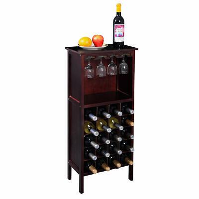 Wood Wine Cabinet Bottle Holder Storage Kitchen Home Bar w/ Glass Rack