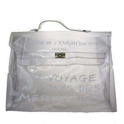 Auth HERMES Vinyl Kelly 40 Hand Beach Bag SOUVENIR DE L'EXPOSITION 1997 34MG373