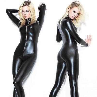 verschluß Langarm Catsuit Wetlook Bodysuit Overall Kunstleder (Langarm-catsuit)