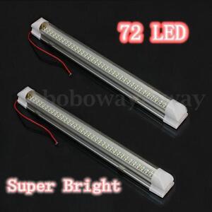 2pcs 72 LED 4.5W Interior Light Strip Lamp Car Auto Van Caravan ON OFF Switch