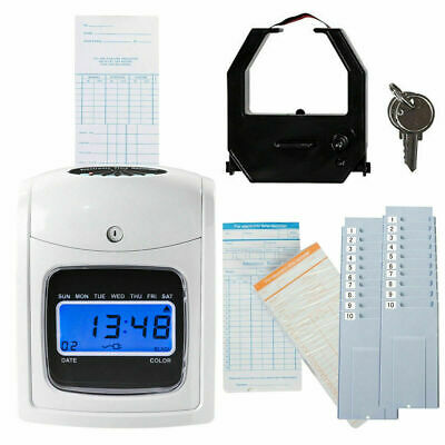 Electronic Recorder Time Punch Clock Lcd Display Wcards Holders Office Supplier