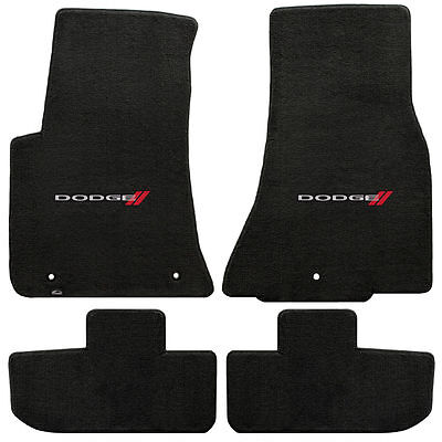 2011+ Challenger Ebony Black 4pc Front Rear Floor Mats - Red & Silver DODGE Logo