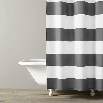 NEW Kassatex Hampton Stripe 100% Cotton Shower Curtain Spa White & Grey Linen