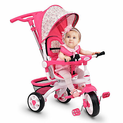 4-In-1 Kids Baby Stroller Tricycle Detachable Learning Toy Bike w/ Canopy - Learning 4 Kids