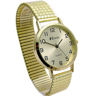 Ravel Men's Super-Clear Quartz Watch with Expanding Bracelet Gold 27 R0201.11.1