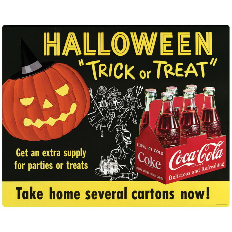 Coca-Cola 1954 Halloween Trick Or Treat Wall Decal 24 x 19 Vintage Style Kitchen