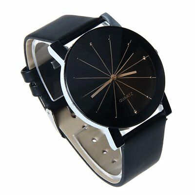 Luxury Men Women Couple Watch PU Leather Quartz Dial Wrist Watch Black (Black Dial Couple Watch)
