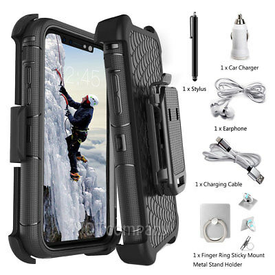 - iPhone XS Max X 8 7 6S Plus Shockproof Protect Case Heavy Duty Belt Clip Holster