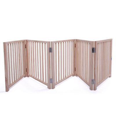 "17.5"" 5 Panel Folding Free Standing Gate Versatile Cat Dog Pet Fence Home"